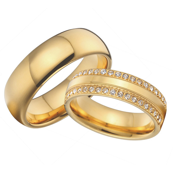 Custom Titanium Jewelry Cz Stone Cubic Zirconia Wedding Bands Promise Rings Sets Gold Color