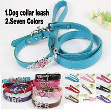 (1 collar + 1 Leashes+Free Charms) Pink Blue Black Purple Red PU Leather 18mm personalized Dog Collar Dog Leashes Dog Leads