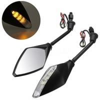 Mayitr 1pair Motor Accessories Motorcycle LED Turn Signals Rearview Sport Bike Mirrors For Honda Suzuki Kawasaki Yamaha Ducati