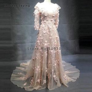Image 3 - Robes de soirée perlées sirène romantique 2018 avec épaule à volants à manches longues robe de soirée de fiançailles robe de bal vestido longo de festa