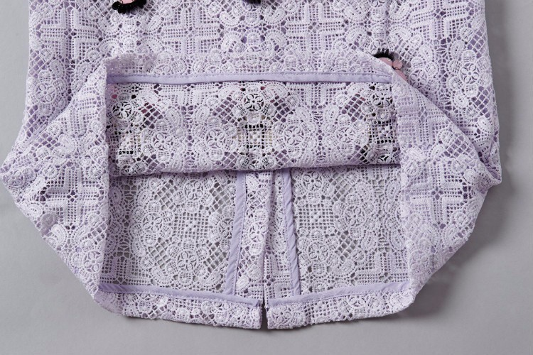 Soluble Flowers Lace Jacket with Skirt Suit Heavy Beading Runway Fashion Women Suit  (12)