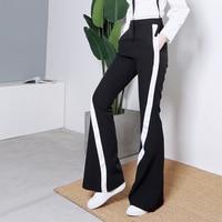 Harem Pants Women Sale Elastic Waist Mid Pants Women 2019 New European And American Style Diagonal Strips Ribbons Slim Flared