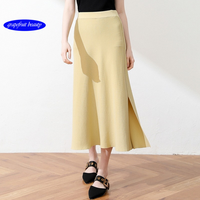2019 New Side Forked Halfway Female Spring and Summer High Waist Long Side Forked Folded Skirt A character Skirt Swagger skirts