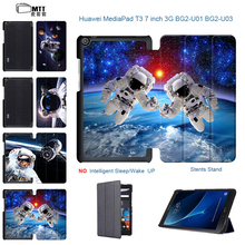 Astronaut Painted PU Leather Cover Case For Huawei MediaPad T3 7.0 3g Protective cover Smart For Huawei T3 7.0 3G 7″ Tablet Case