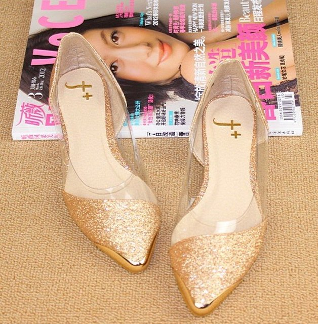 2014 New  chic metal pointed/closed toe transparent shiny pointed Asakuchi ballet flat shoes women's shoes