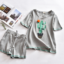 cotton 2 piece pajama set women summer pink Cactus short sleepwear female gray striped korean fresh cute thin home wears