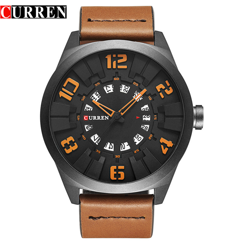 Mens Watches Top Brand Luxury Curren Men Watch Casual Sport Male Quartz Wrist Watches Leather Strap Men Clock Relogio Masculino new curren men wrist watches top brand luxury man wristwatch full steel silver strap mens quartz watch calendar male hour clocks