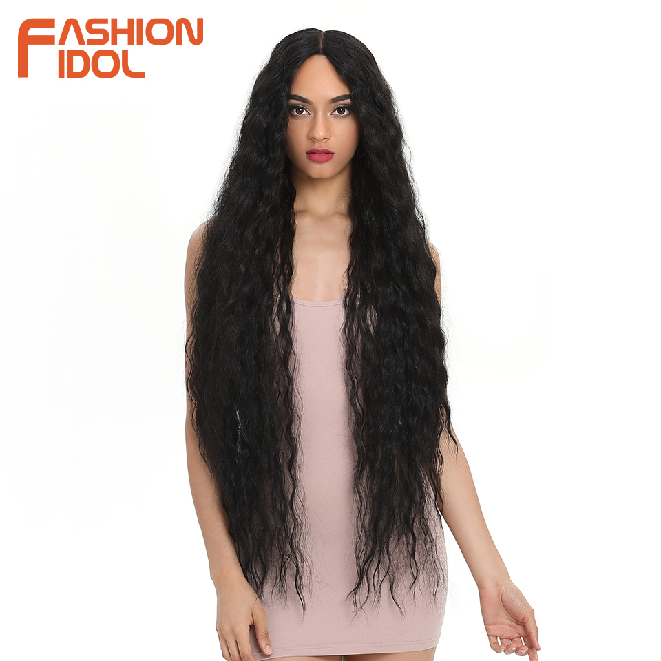 FASHION IDOL Hair Synthetic Wig Loose Wave Black 38 Inch Ombre Blonde Deep Wave Super Long Wavy Synthetic Wigs For Black Women(China)