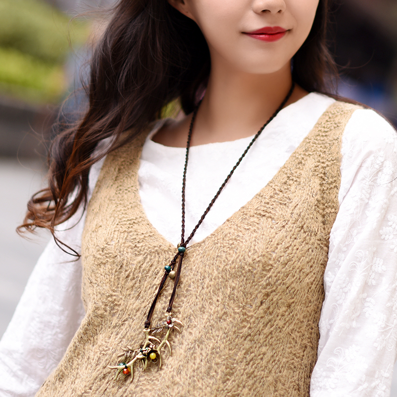 antler necklace maxi trendy yellow carnelian horn bronze pendant rope chain ethnic vinatge jewelry fashion 2017 new femme gift