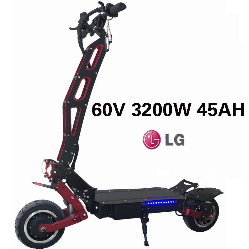 3200W 60V 80KM 95KM/H 11Inch Electric Scooter LG Lithium Battery Aluminum Alloy Kart 9cm Fat Tire Folding Electric Skateboard