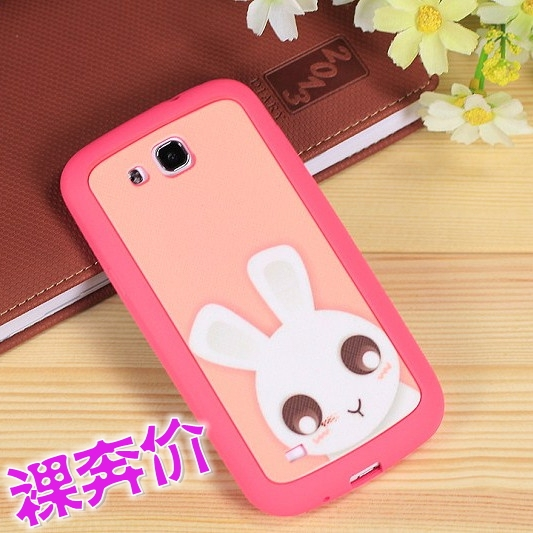 For samsung s4 i9500 mobile phone case protective s4 cartoon silicone gel two-color soft cover