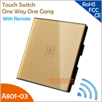 UK Touch Switch A801-03 Crystal Glass Panel Smart One Way One Gang Wall Switch with Remote in White, Black and Gold Color
