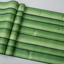 Classic green 3d stereo bamboo wallpaper dinning room tea house hotel restaurant porch Chinese style -PVC waterproof