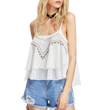 2017 Embroidery Women Chiffon Sexy Camis Vest Sleeveless Blouse Casual Tank Tops Girls Comfortable Double Layer Chiffon Camis