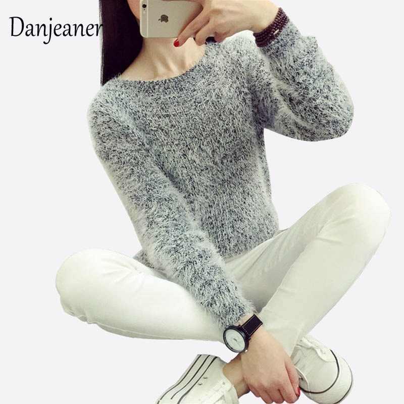 2016 mujeres colores dulces suéteres moda Otoño Invierno cálido Mohair  o-cuello pulóver manga larga 2c98005529e2