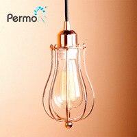 Permo Modern Chrome Metal Pendant Light Lamp Cord Kit Retro Loft Bedroom Ceiling Hanging Lamp Fixtures