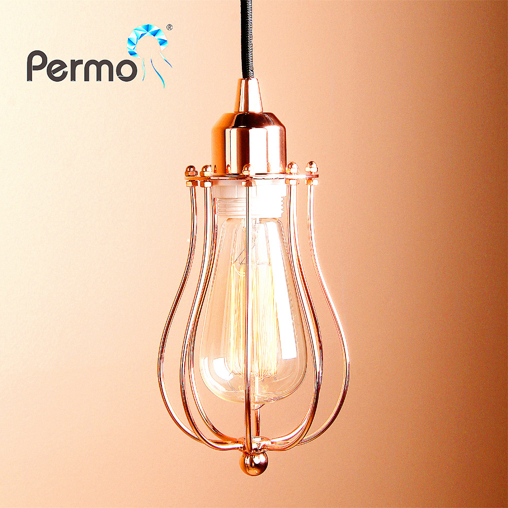 PERMO Vintage Pendant Lights Retro Hanglamp Rope Iron Cage Pendant Ceiling Lamp Modern hanglamp Lights Fixture Home Decorations