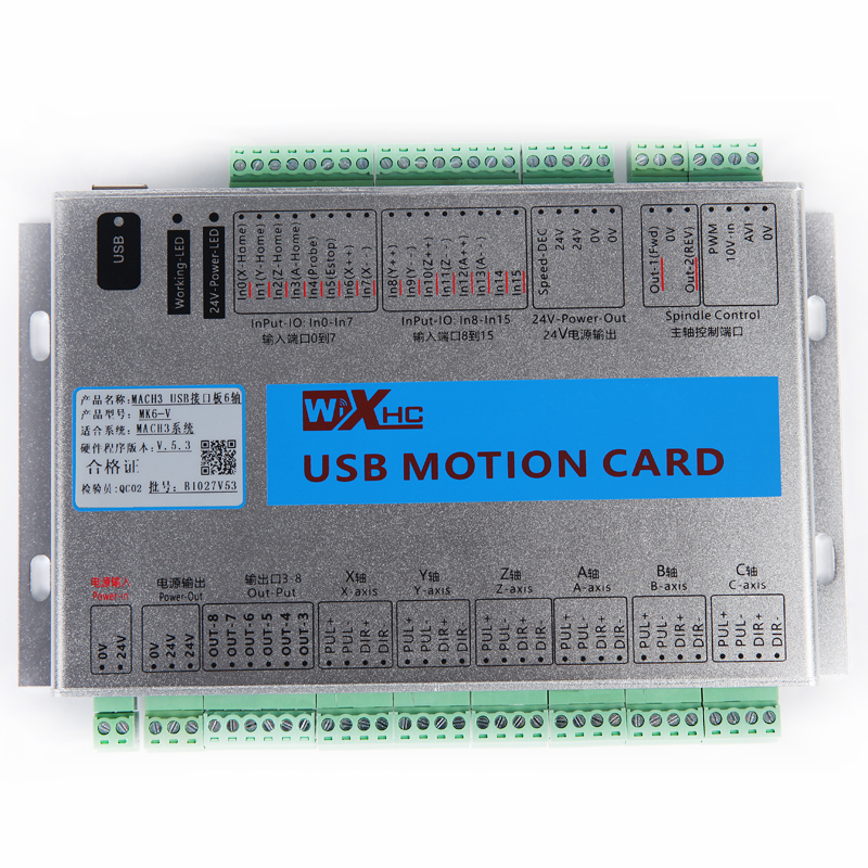 XHC MK6 CNC Mach3 USB 6 Axis Motion Control Card Breakout Board xhc mk4 mach3 breakout board 6 axis usb motion control card 2mhz support windows 7 10