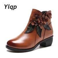2019 hiver chaussons femmes bottes Vintage en cuir véritable chaussures à talons bas bout rond chaussures mode dames bottines pour les femmes