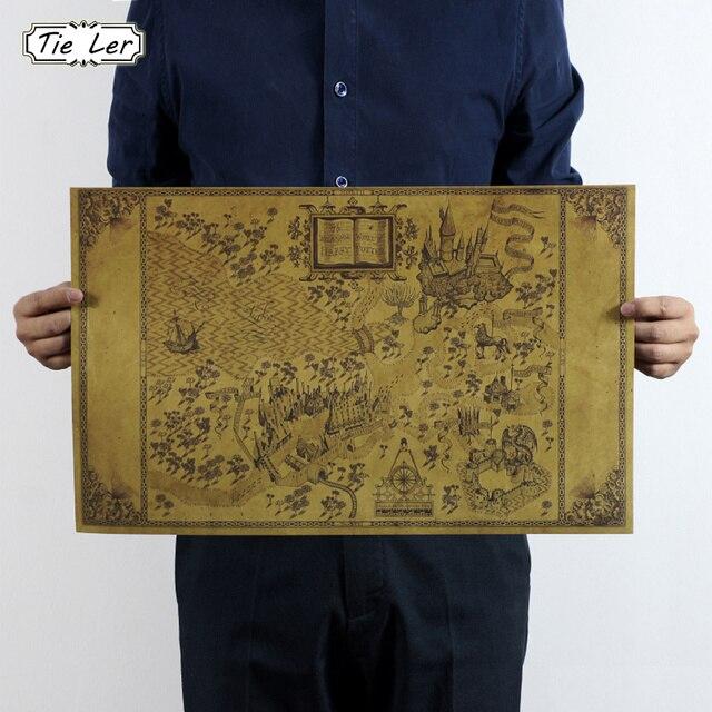 Mapa del Mundo Mágico de Harry Potter Movie Posters Decoración Sin Marco Que Restaura Maneras Antiguas de La Pared Pegatinas 33*51 CM