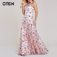 OTEN Women Embroidery Flower Party Dress Summer Sleeveless Sexy Mesh Maxi Dress Black Dresses Long Clothing Vestidos de festa