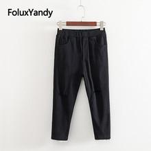 Calf-length Summer Pants Women Trousers Elastic Waist Slim Stretched Plus Size Casual Lace Cuffs Hole Pencil Pants KKFY3573 цены