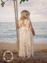 2017 Greek Beige Lace lovely Flower Girls Dresses For Beach Weddings Girl's Communion Dress Girls Dress vestido longo