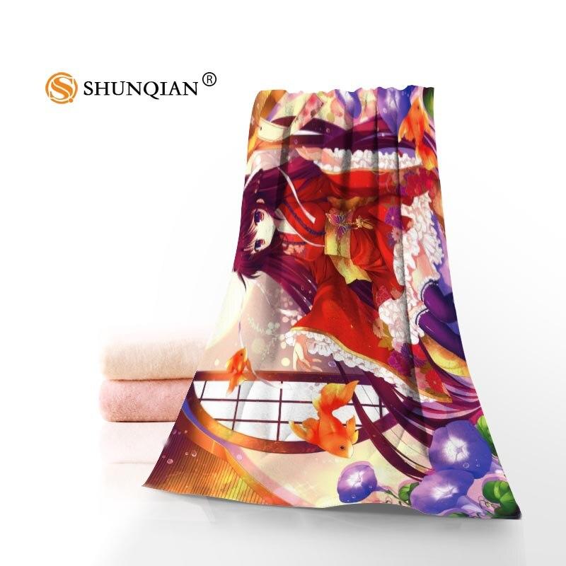 New Custom Anime Girl Towel Printed Cotton Face/Bath Towels Microfiber Fabric For Kids Men Women Shower Towels QAZ334