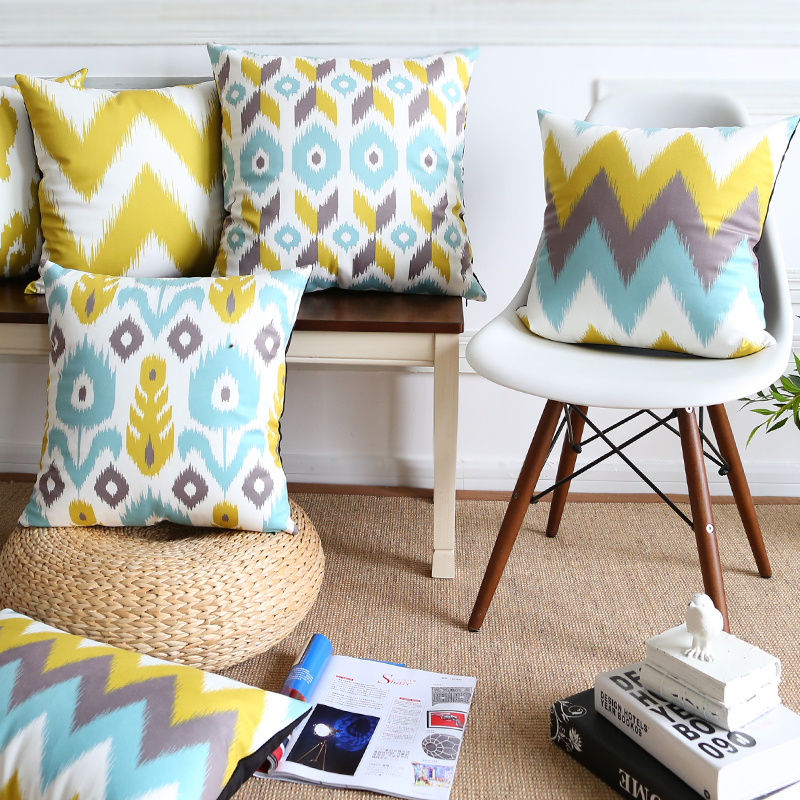 Grey And Blue Decor With Yello Pop Of Color: Drop Ship Supersoft Velvet Pillow Cover Yellow Grey Blue