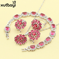 Red Imitation Ruby New Fashion Silver Color Jewelry Sets Clean Wedding Necklace Rings Earrings Bracelet  For Women