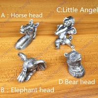New Classical European Contracted Style Simple Cupboard Door Drawer Knobs Ancient Silver Furniture Handle Bear Pulls