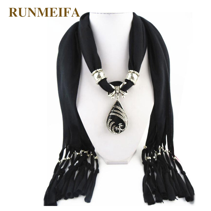 RUNMEIFA Fashion Water Drop Pendant Scarf For Women Free Style Scarf Femme Elegant Jewelry Echarpe Lady Gorgeous Necklace Sjaals