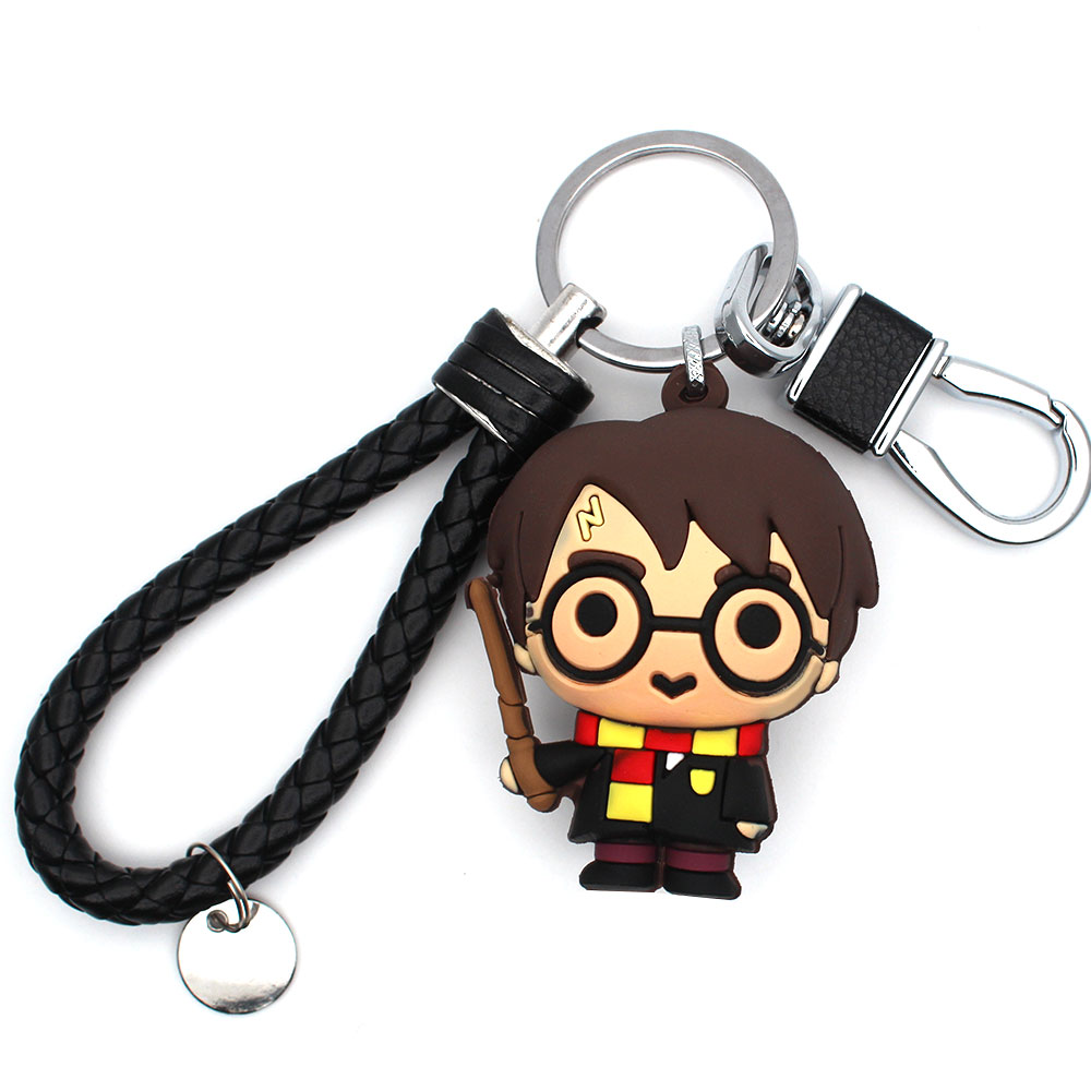 Harri Potter Magic Wand Symbol PVC Handmade Toy Doll Pendant+Keychain+Leather Rope Strap Ornament Cosplay Collection Gift Cool