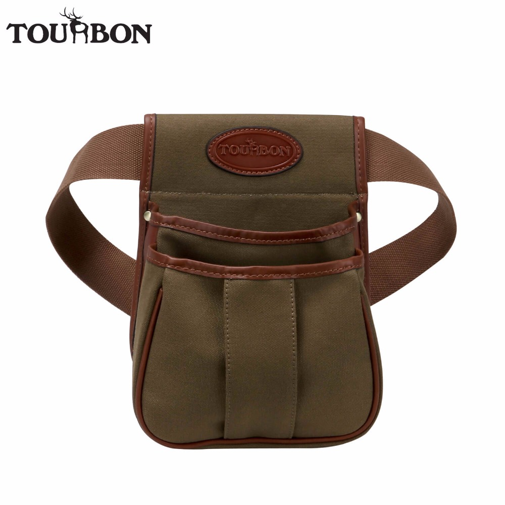 Tourbon Hunting Tactical Gun Cartridges Bag Shooting Ammo Shells Case Durable Canvas Leather Pouch with Two Pocket Maxium 56'' 47 folding fishing rod bag tactical duel rifle gun carry bag with shoulder strap outdoor fishing hunting gear accessory bag