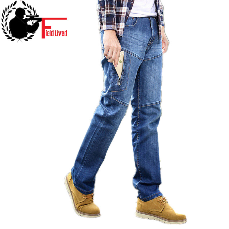 Men's   Jeans   Spring Side Multi Pockets Zipper Funtional Designs Denim Pants Large Male Trouser Plus Size Big Tall 40 42 44 46 48