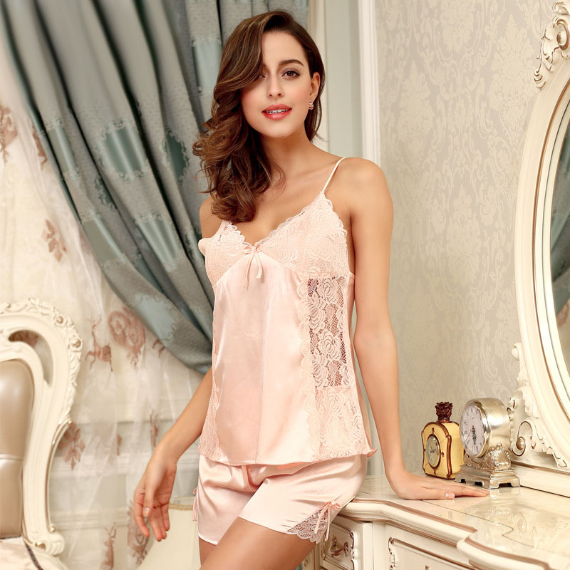 f166ebd35a Summer Ladies Sexy Satin Pajama Pijama Sets for Women Night Suit Sleepwear  Faux Silk Female Home Clothes Pyjamas Femme SY067 20-in Pajama Sets from ...