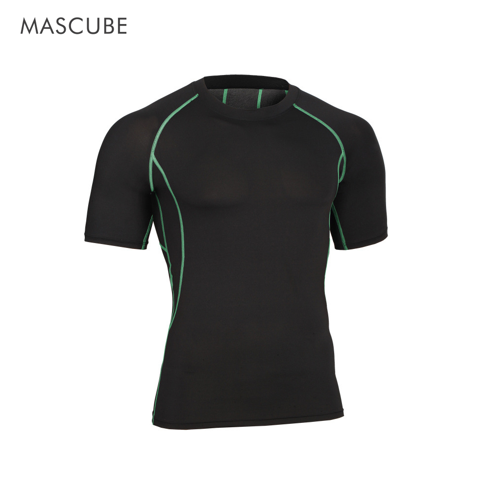 MASCUBE Top T-Shirt Men Tees Short-Sleeve Compression-Tights Fitness Quick-Drying Elasticity title=