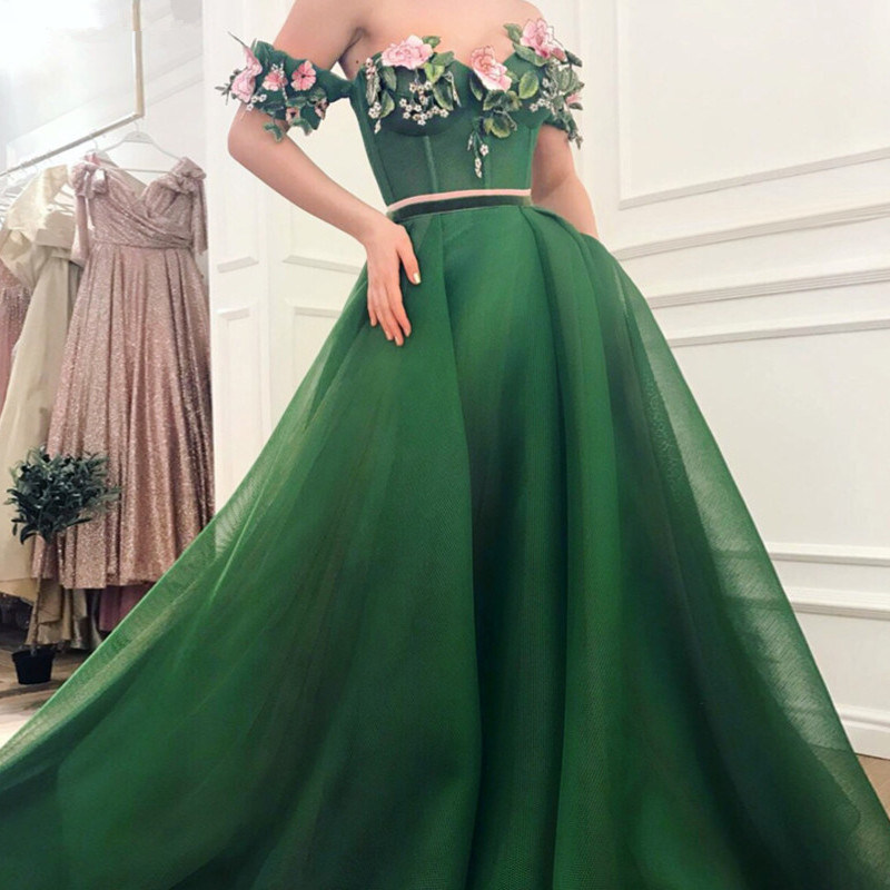 Green Muslim   Evening     Dresses   2019 A-line Sweetheart Tulle Beaded Flower Elegant Dubai Saudi Arabic Long   Evening   Gown Prom   Dress