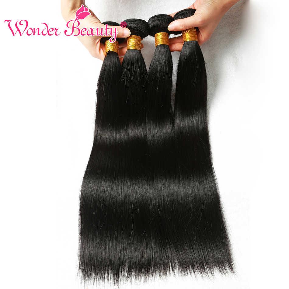 Wonder Beauty Indian Human Hair Extensions Straight 3 Bundels Deal Natuurlijke Zwarte Kleur Gemengde Lengte Van 8 Inch Tot 30 inches