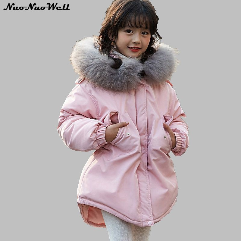NNW Fashion DOWN COAT Winter Children Warm Suit for Kids Hooded Fur Collar Zipper Teenager Girl Thick Outerwear Baby Girls Parka plus size winter women cotton coat new fashion hooded fur collar flocking thicker jackets loose fat mm warm outerwear okxgnz 800