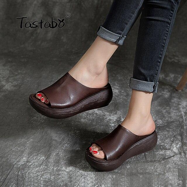 Tastabo 2019 yaz bayanlar terlik plaj ayakkabısı Vintage işçilik eğlence tarzı kalın tabanlı günlük ayakkabı rahat 40