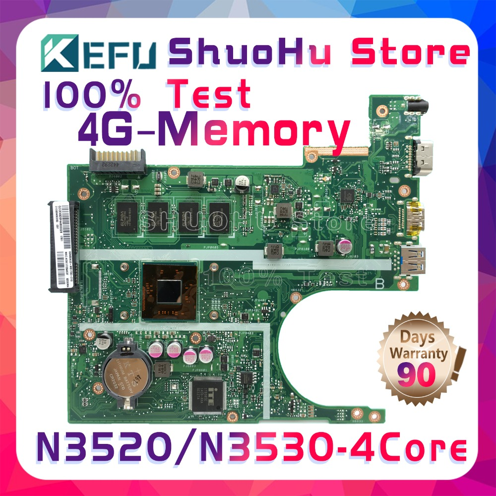 SHELI F200MA For ASUS X200MA K200MA REV2.1 CPU N3520/N3530 Memory 4GB laptop motherboard tested 100% work original mainboard free shipping original laptop laptop motherboard for asus x200ma k200ma f200ma mainboard with n2815 cpu integrated fully test