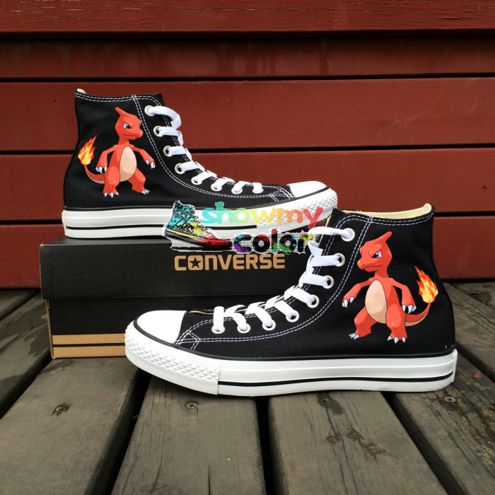 Converse Chuck Taylor Black Women Men Shoes Charmeleon Dragon Pokemon Design Hand Painted Canvas Shoes Boys Girls Sneakers