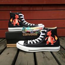 Converse Chuck Taylor Black Women Men Shoes Charmeleon Dragon Pokemon Design Hand Painted Canvas Shoes Boys Girls Sneakers