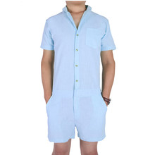 f9388211ede7 Summer Short Sleeve Casual Men s Rompers Fashion Single Breasted Jumpsuit  Button Overalls Short Cargo Pants Overalls