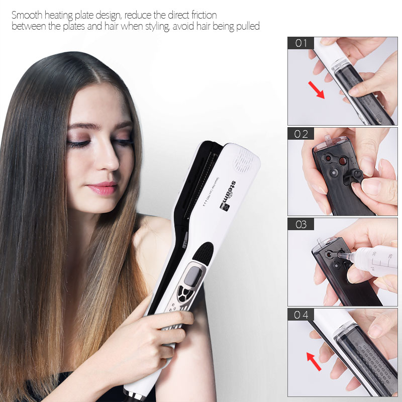CkeyiN Top Grade Electric Steam Hair Straightener Flat Iron LCD Display Vapor Ceramic Straightening Irons Hair Styling Tools 40 infrared flat iron hair straightener mch fast heating dual voltage ceramic plates lcd display flat hair straightener irons