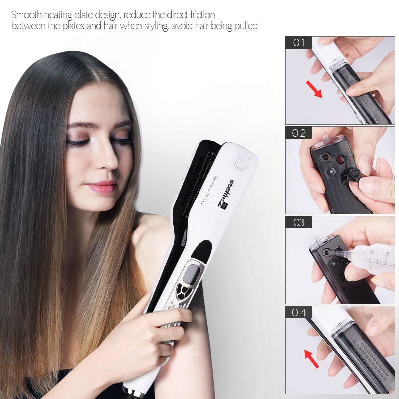 CkeyiN Top Grade Electric Steam Hair Straightener Flat Iron LCD Display Vapor Ceramic Straightening Irons Hair Styling Tools 40