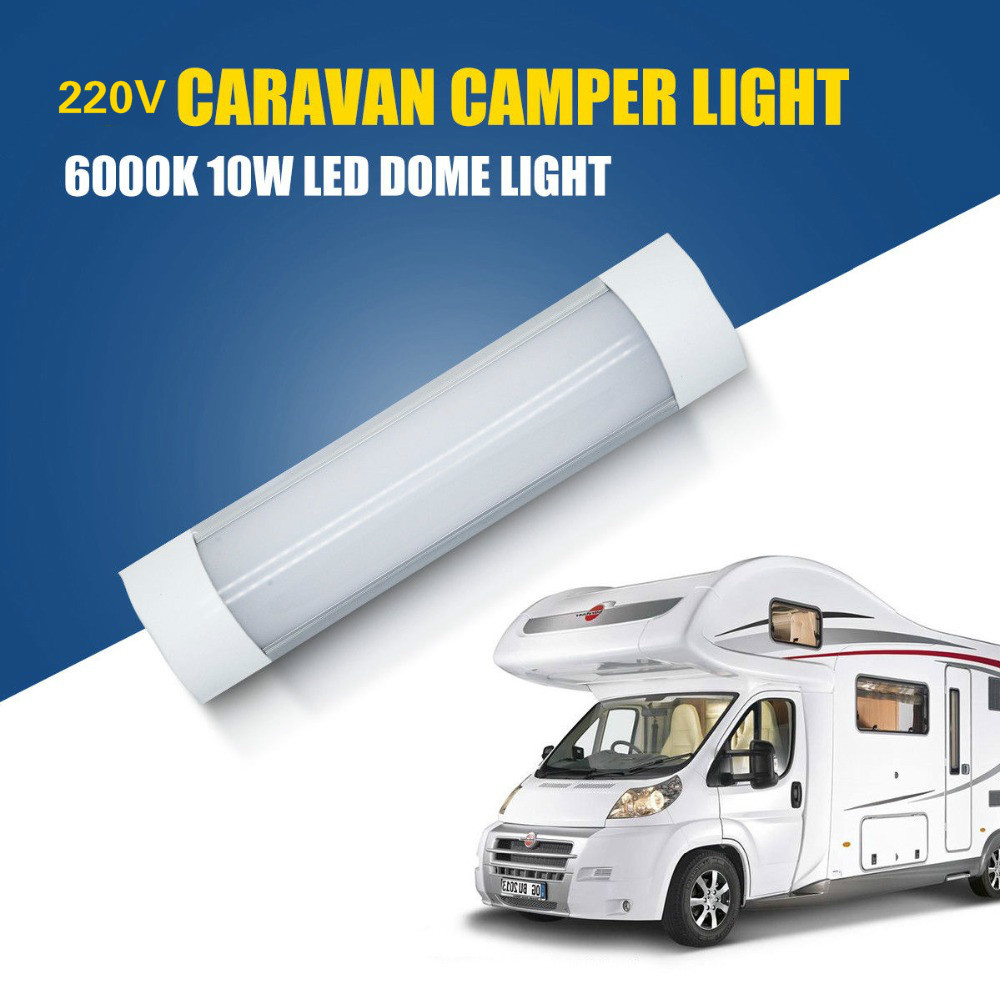 220V 6000K LED Interior Cabinet Light 10W Caravan Camper Motorhome Dome White Lamp 30cm