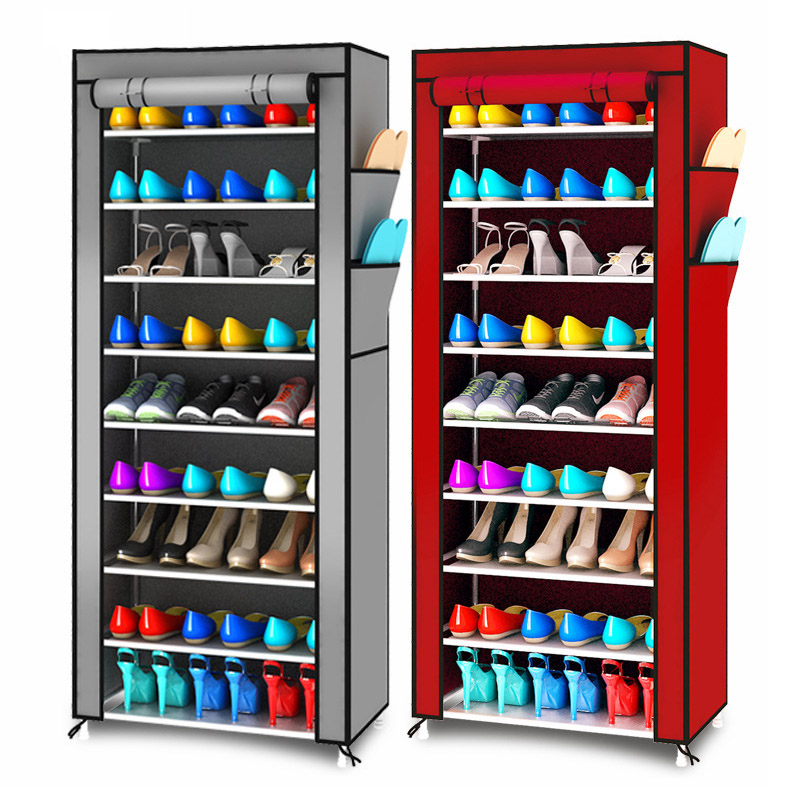 Modern minimalist assembly Shoes organizer storage Non-woven fabric standing space saving Shoe Cabinet Closet 9 layers Shoe rack 4 layers of simple dust proof moisture proof shoe rack thick non woven stainless steel shoe free assembly of home furniture
