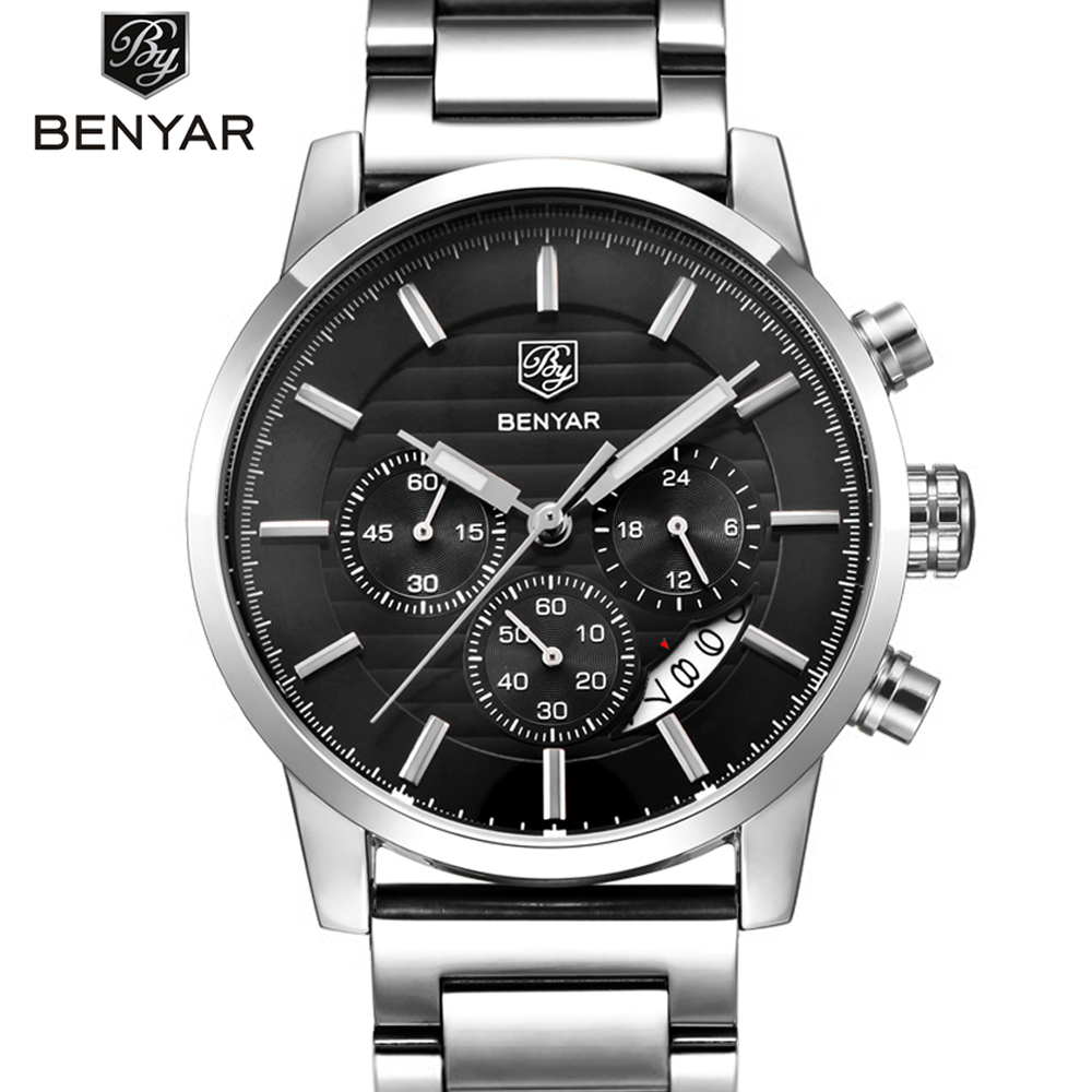 Men's Sports Chronograph Quartz Watch Leather& Stainless Steel Strap Waterproof Business Watches Clock Male Relogio Masculino все цены